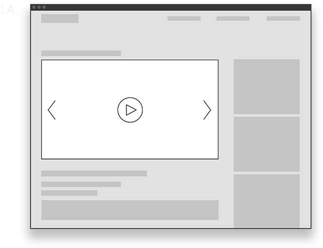 Video Pre-Roll Wireframe Desktop Graphic